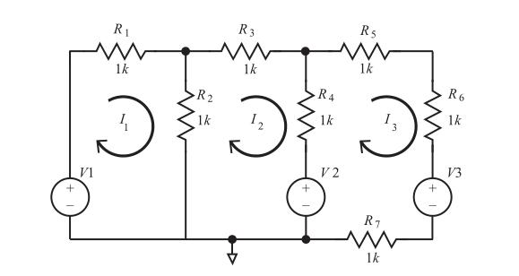 circuito con tres corrientes de mallas aplicando las leyes de kirchhoff