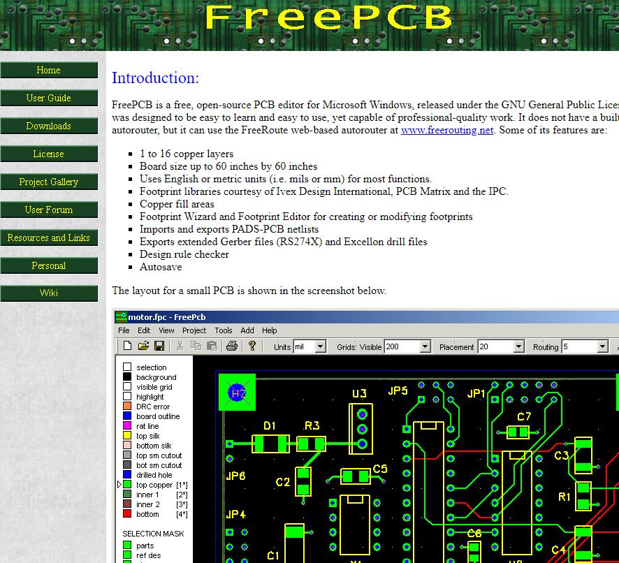 Programa para diseñar circuitos Eléctricos - FreePCB